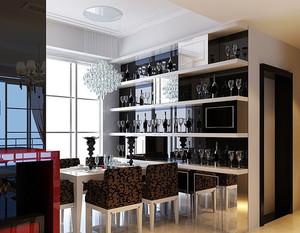 后现代风格复式楼黑白色酒柜装修效果图