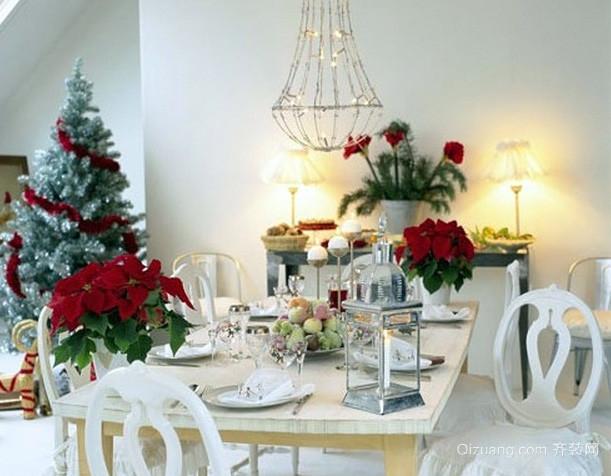 大户型美式简约风格餐厅圣诞节布置设计图