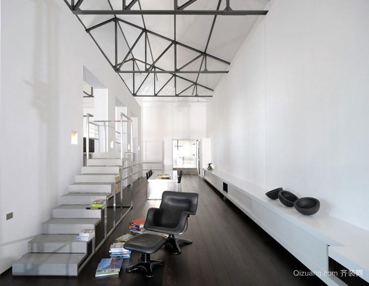 简约错层别墅房屋唯美白色小楼梯效果图