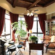 乡村美式300平别墅书房转角窗帘效果图