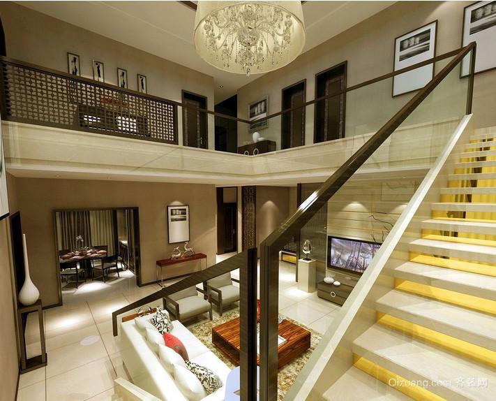 新中式大别墅房屋唯美楼梯装修效果图
