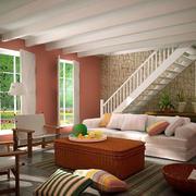 乡村风格90平米跃层唯美楼梯装修效果图