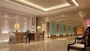 欧式奢华酒店大堂前台装饰