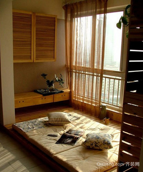 两室一厅日式简约风格榻榻米床装修效果图