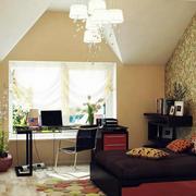 美式简约风格斜顶楼房背景墙装饰