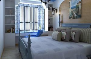 地中海20平米卧室书桌飘窗窗帘效果图片