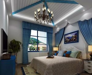 地中海风格小别墅卧室窗帘效果图片