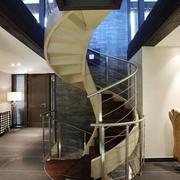 现代200平复式楼唯美旋转楼梯装修效果图