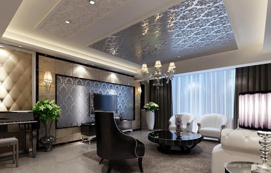 简欧别墅客厅液体壁纸电视背景墙效果图