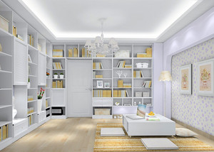 田园浅色200平米房屋书房大型壁柜展示