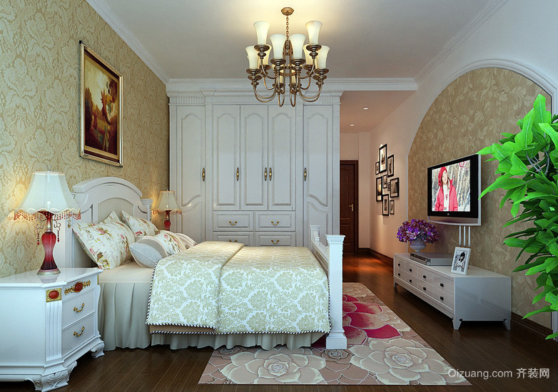 简欧风格158平米房屋卧室液体壁纸欣赏