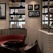 咖啡店简约风格卡座装饰