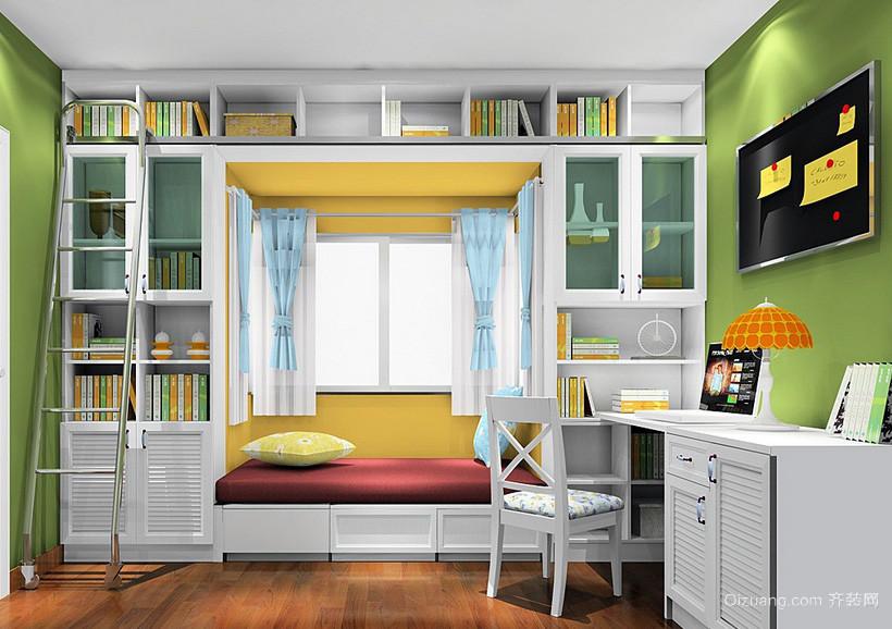 清新简约田园16平米小书房书柜装修展示