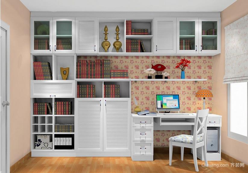 宜家田园三居室新房书房书柜装修展示