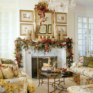大型别墅美式田园风格客厅圣诞节装修图