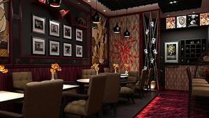 咖啡店复古照片墙装饰