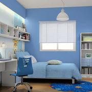 蓝色简约小户型男生儿童房装饰设计图片