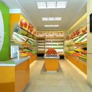 现代50平米彩色水果店装修效果图