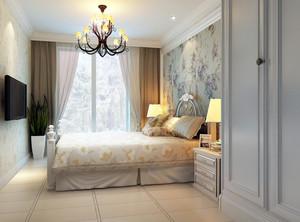 大户型欧式风格印花卧室背景墙装修效果图