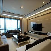 现代100平公寓客厅瓷砖电视背景墙效果图