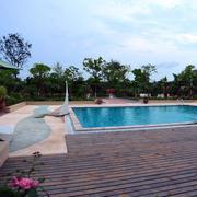 大型别墅游泳池附近园艺设计效果图