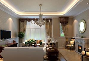 100平老年公寓现代美式客厅窗帘效果图片