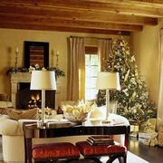 138平米美式简约风格暖色系圣诞主题客厅装修