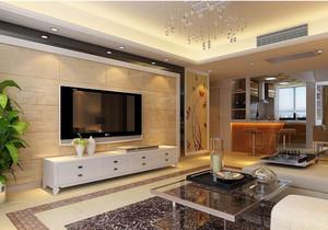 都市三室一厅客厅大理石电视背景墙图