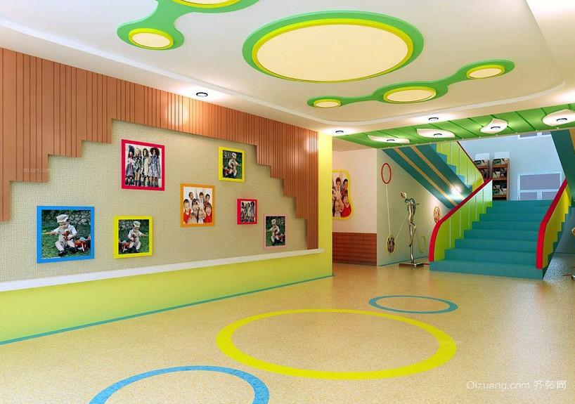 大型现代幼儿园学校照片墙装修设计图