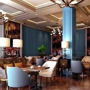 80平米清新淡雅简约欧式咖啡馆装修效果图
