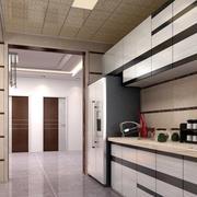 一字型密集厨房吊顶装饰