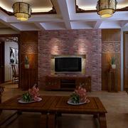 中式简约风格客厅电视背景墙装饰