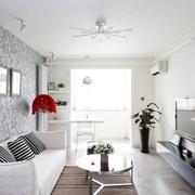 都市58平米小公寓纯白色客厅背景图片
