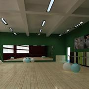 艺术学校简约舞蹈教室装修设计效果图