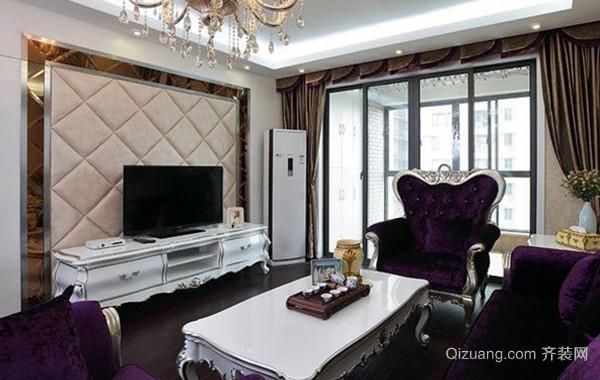 120平米奢华大气简欧风格客厅电视背景墙装饰