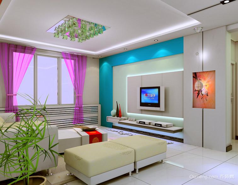 120平米唯美欧式大户型家装电视墙装修效果图
