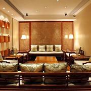 大型休息室原木家具装饰
