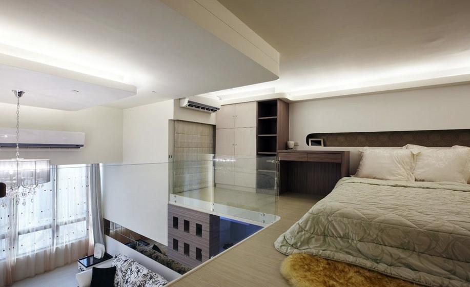 简欧小户型单身公寓榻榻米床装修效果图