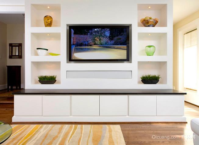 单身公寓整体式客厅电视柜装修效果图