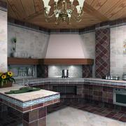 暖色调厨房背景墙图