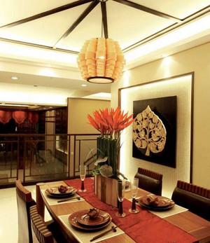 复式楼东南亚风情暖色系餐厅装修效果图