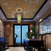 中式简约风格书房背景墙装饰