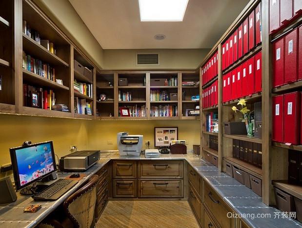 138平米美式简约风格整体式书房装修效果图