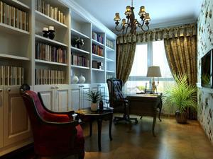 欧式简约风格复式楼书房装修效果图