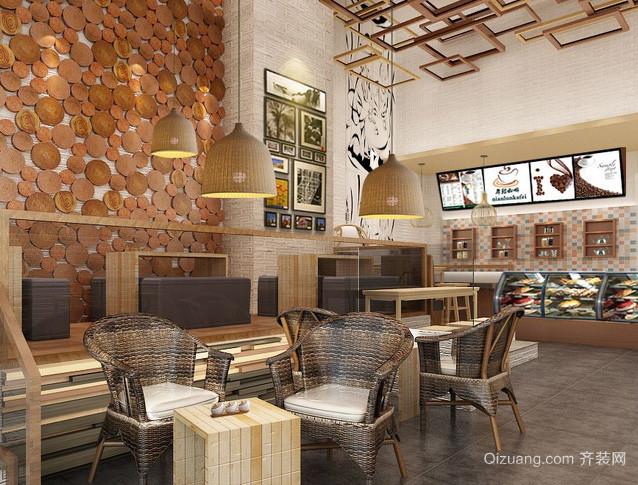 140平米美式简约风格复古咖啡厅装修效果图