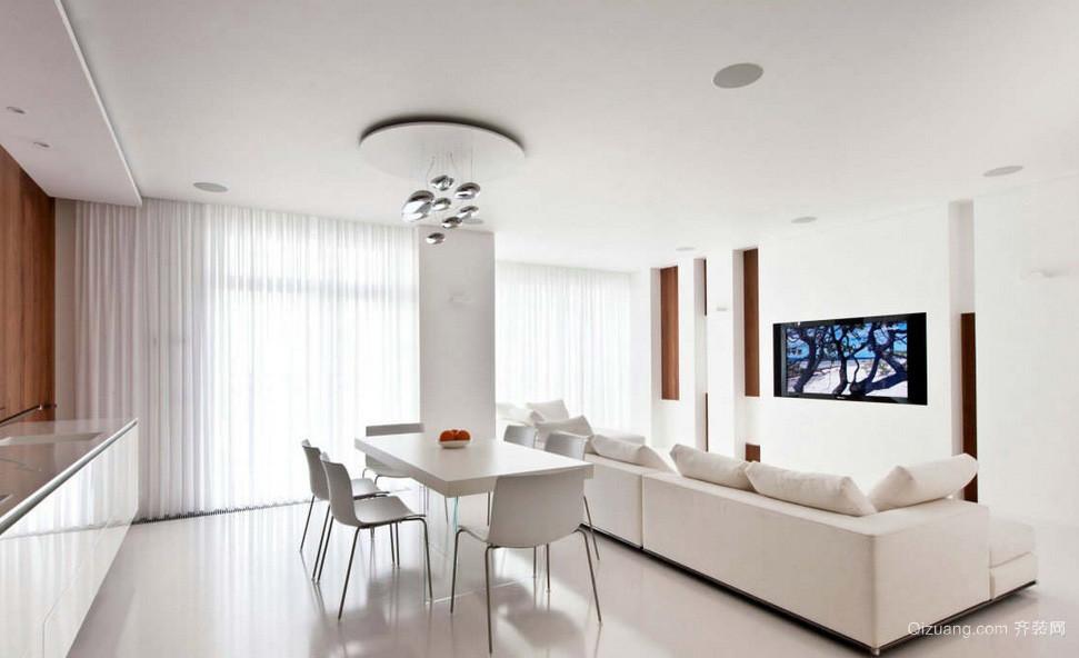 简约纯白色60平米家居客厅背景装修图片