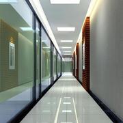 现代简约风格过道磨砂玻璃隐私隔断墙效果图