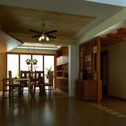 东南亚餐厅原木桌椅装饰