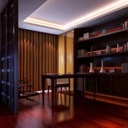 书房简约风格原木隔断装饰