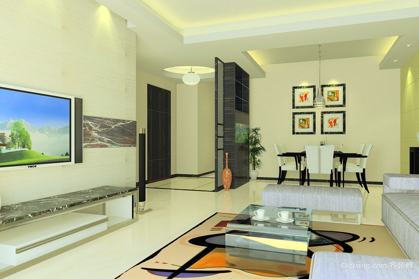 新古典风格两房一厅户型装修效果图